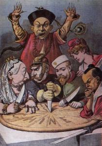 A cartoon describing the policies of Open Door Politics in china, between the main actors: UK, France, Germany, US and Japan.