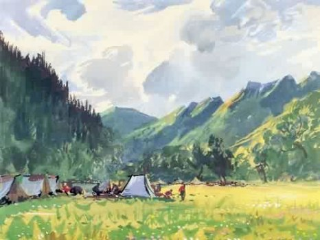 Near Heishui outpost, 1955, watercolor.
