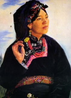 Tibetan Woman Aguan, 1955, watercolor.