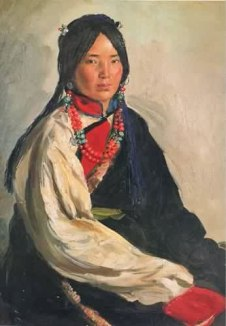 Tibetan Woman in Shuajingsi, 1955, watercolor.