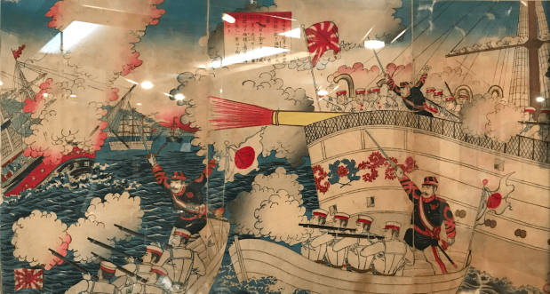 Japanese Armies attack Chinese Qing Empire's float.