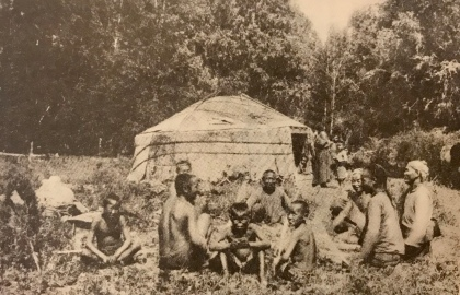 Tuvan people next to their yurta (summer in Tuva is very hot being a continental climate)